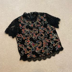 Zara Lace Embroidery Zip Top M